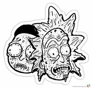 Amazon Rick And Morty White Black Coloring Pages Free