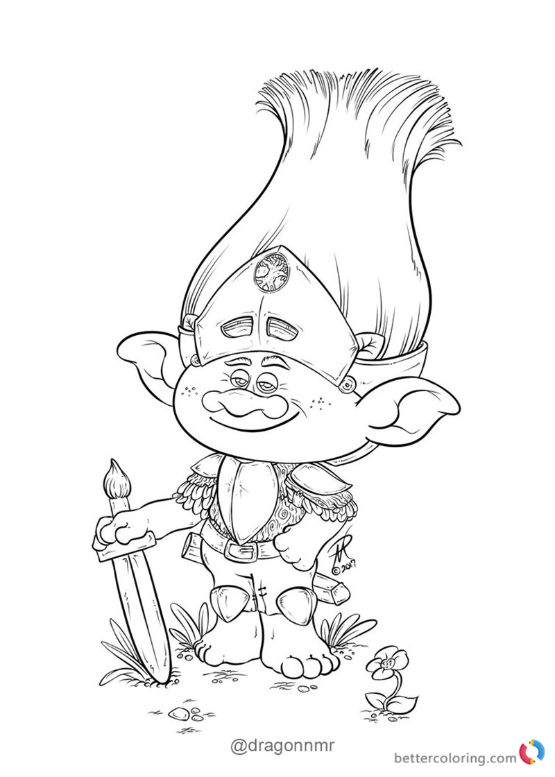Warrior branch from trolls coloring pages free printable for Branch and poppy coloring pages