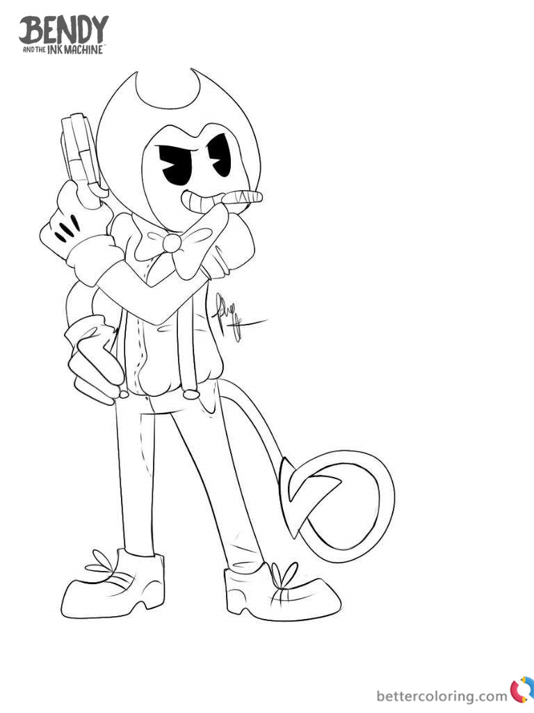 Sammy Head Coloring Page Bendy And The Ink Machine