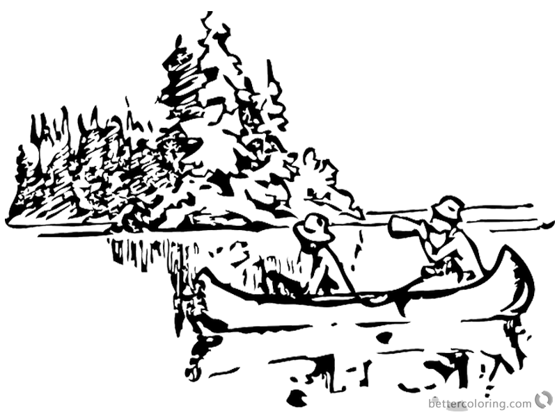 Canoeing Coloring Pages Canoeing near a island printable