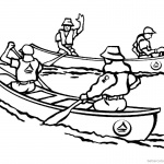 Canoeing Coloring Pages Four People Canoeing with Two Canoes