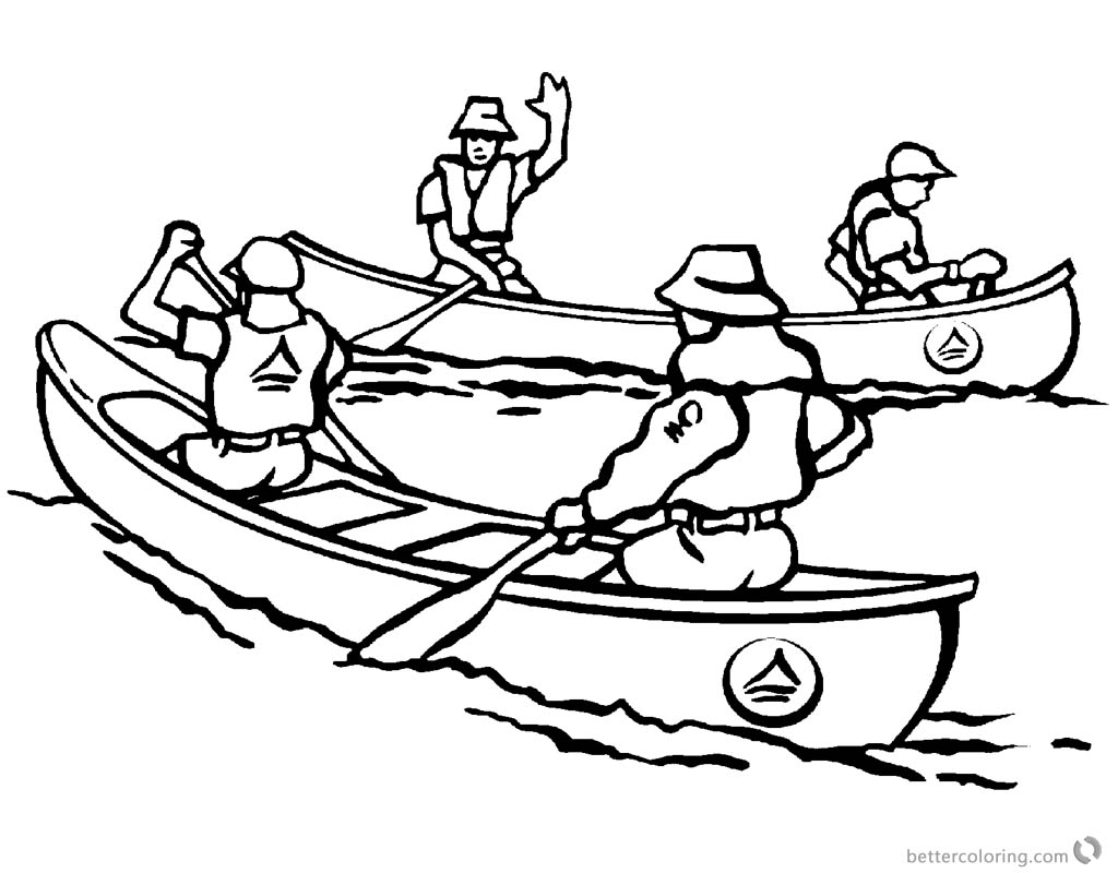 Canoeing Coloring Pages Two Canoes printable