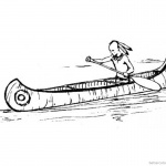 Canoeing Coloring Pages Indian Canoeing