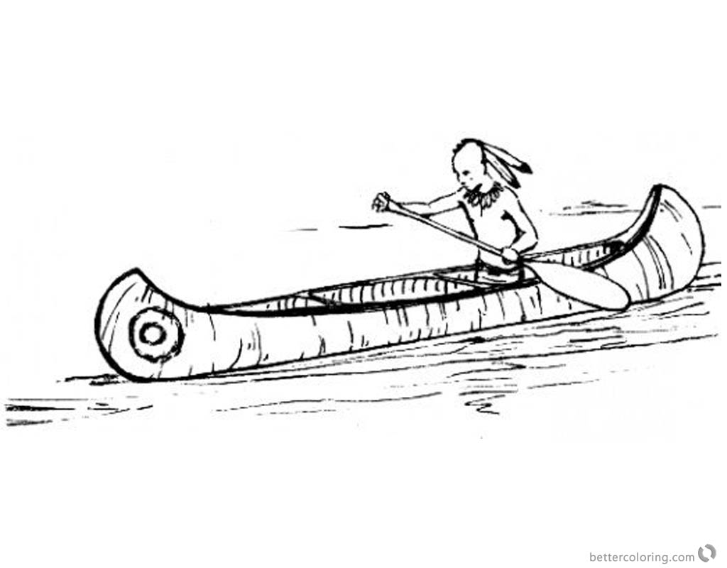 Canoeing Coloring Pages Indian Canoeing printable