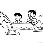 Canoeing Coloring Pages Flying Fish