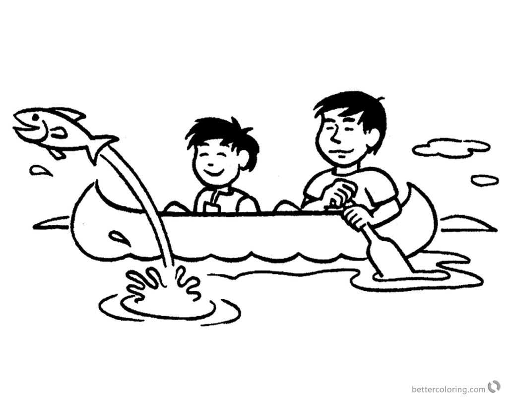 Canoeing Coloring Pages Flying