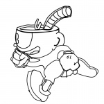 Cuphead Coloring Pages Cuphead Running