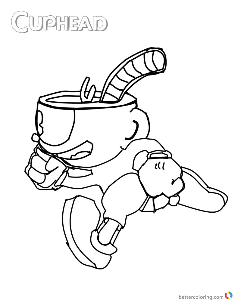 Cuphead Coloring Pages Cuphead Running printable