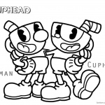 Cuphead Coloring Pages Cuphead and Mugman