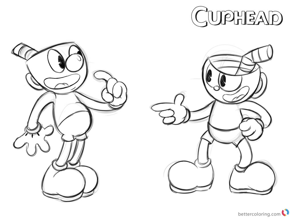 Cuphead Coloring Pages Cuphead and Mugman WIP printable