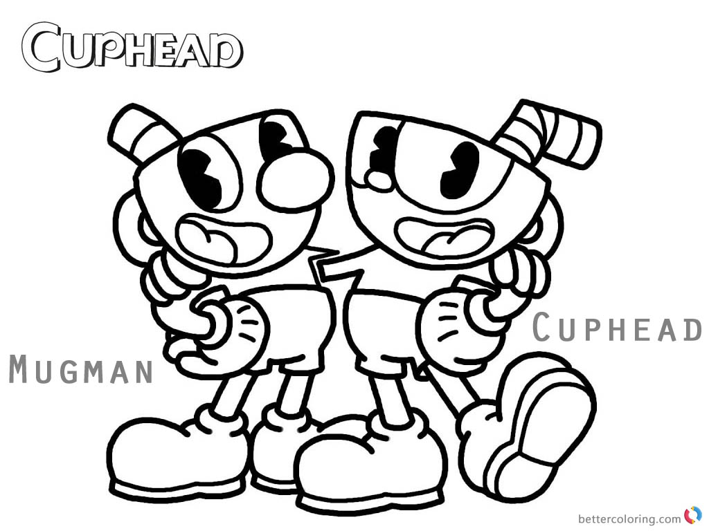 cuphead coloring pages cuphead and mugman free printable