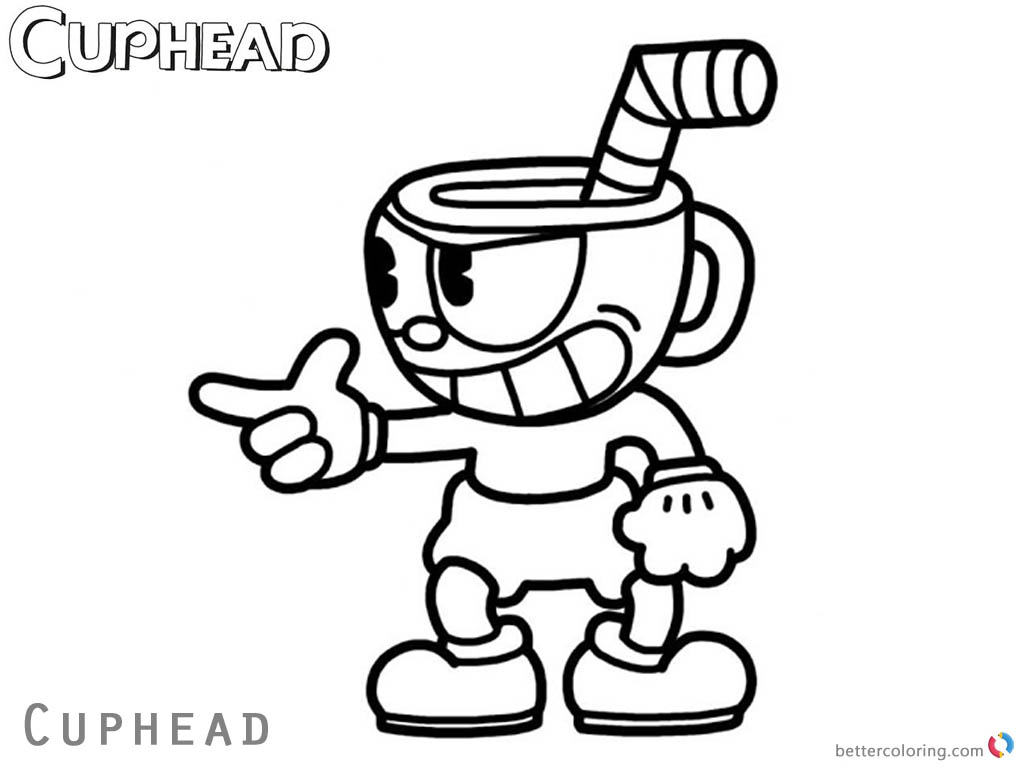 Cuphead Coloring Pages Cuphead say something printable