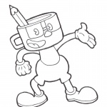 Cuphead Coloring Pages Dont deal with devil