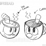 Cuphead Coloring Pages Drink Sketch