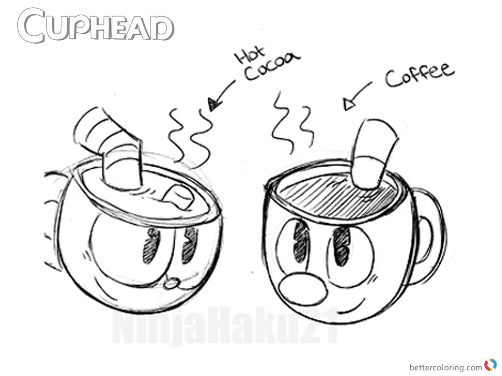 Cuphead Coloring Pages Drink Sketch printable