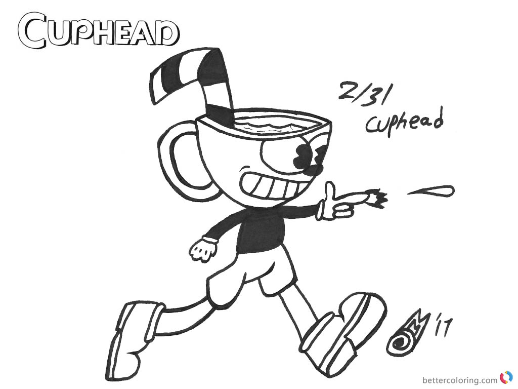 photo regarding Cuphead Coloring Pages Printable named Cuphead Coloring Internet pages Inktober Cuphead capturing - Totally free