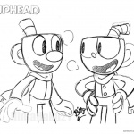 Cuphead and Mugman Sketch from Cuphead Coloring Pages