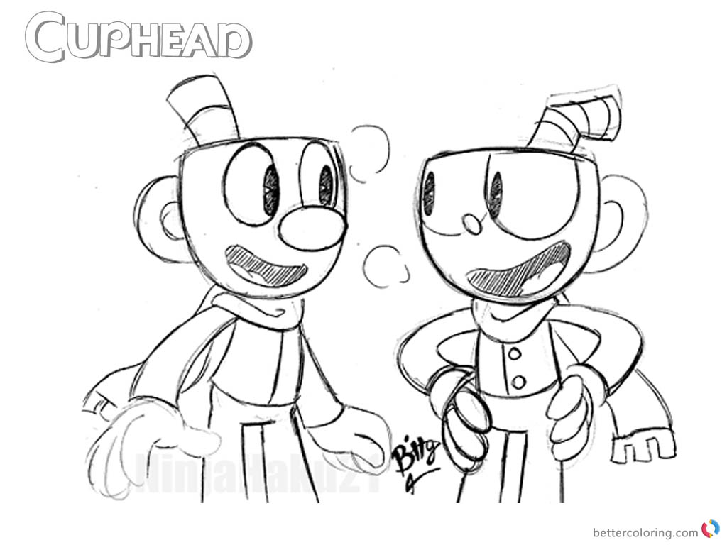 Cuphead and Mugman Sketch from Cuphead Coloring Pages printable