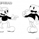 Cuphead and Mugman from Cuphead Coloring Pages Black and White