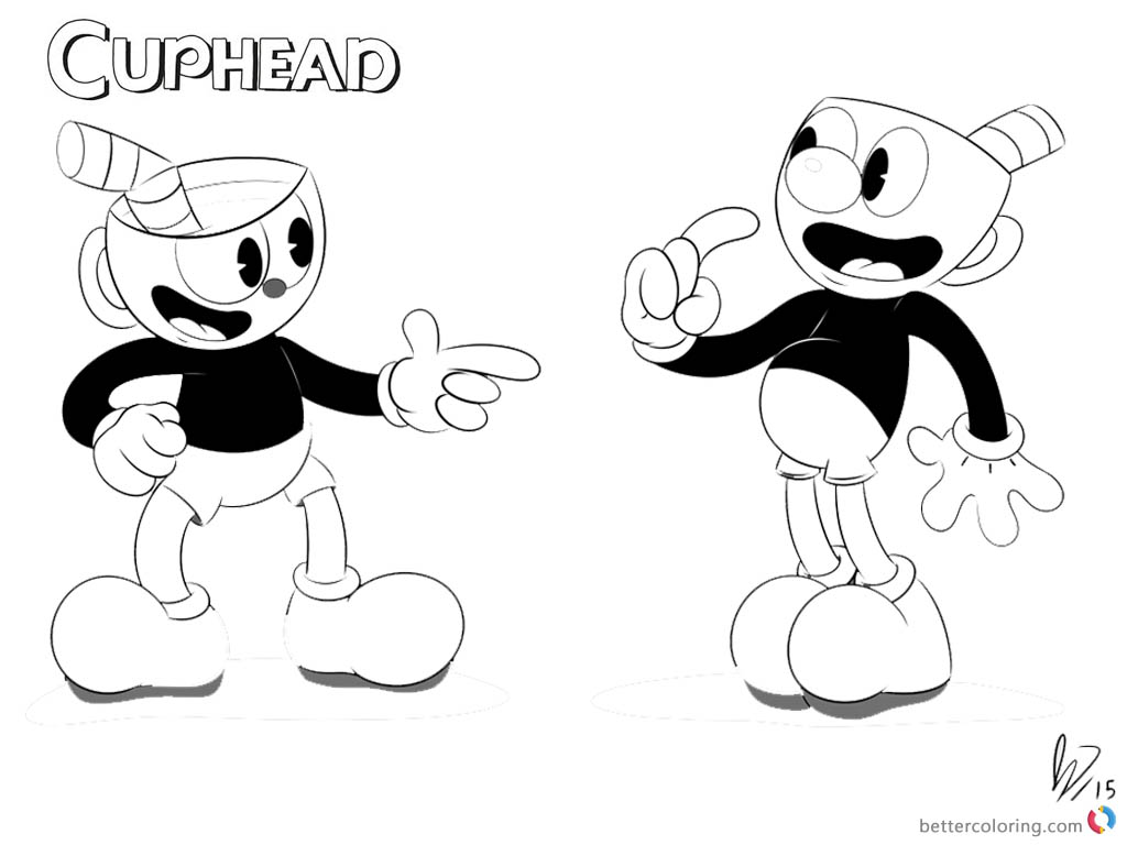 Cuphead and Mugman from Cuphead Coloring Pages Black and White printable