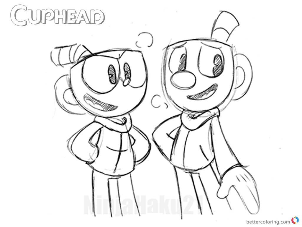Cuphead talking with Mugman from Cuphead Coloring Pages printable