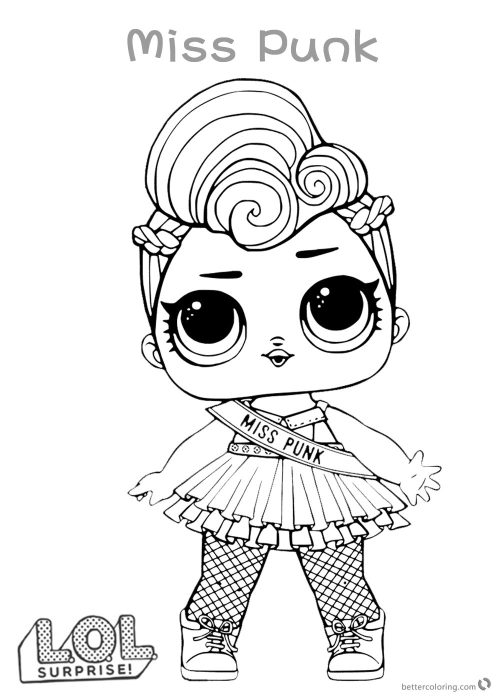 Cute LOL Surprise Doll Coloring Pages Miss Punk printable
