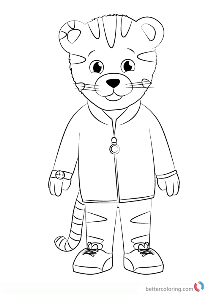 Daniel Striped Tiger from Daniel Tiger's Neighborhood coloring pages printable