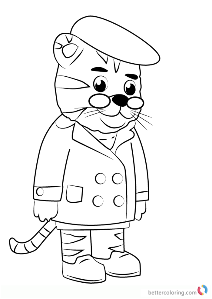 Grandpere Tiger from Daniel Tiger Coloring Pages - Free Printable ...