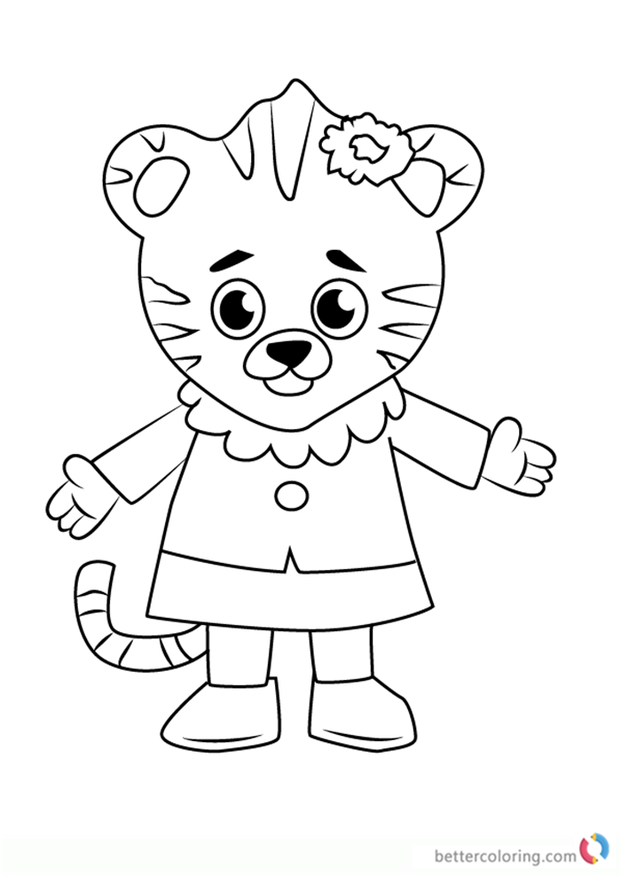 Margaret Tiger from Daniel Tiger's Neighborhood coloring pages printable