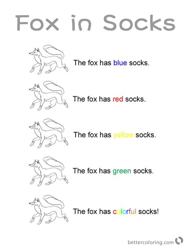 Dr Seuss Fox in Socks Coloring Pages Colorful Socks printable