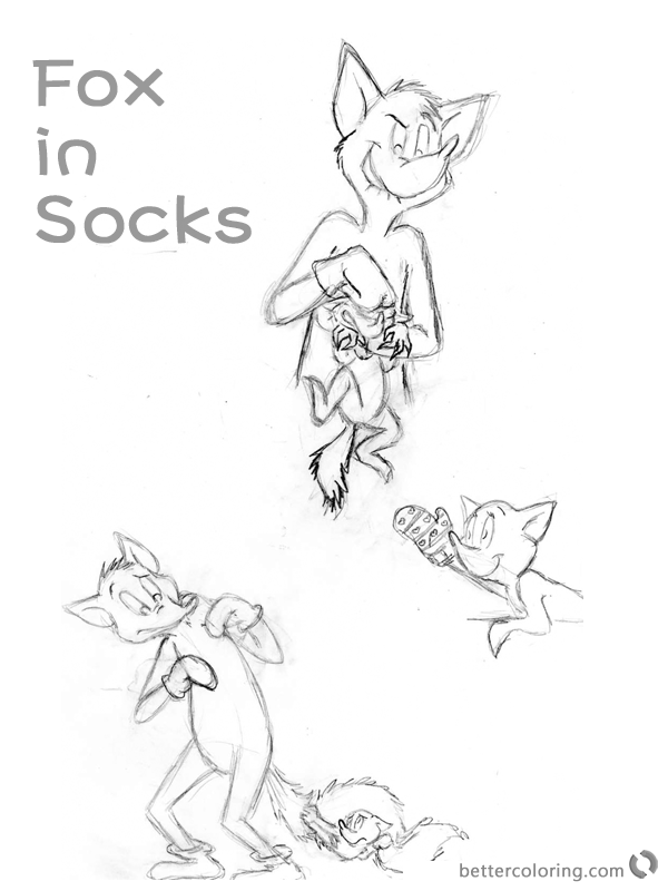 Dr Seuss Fox in Socks Coloring Pages Sketches printable
