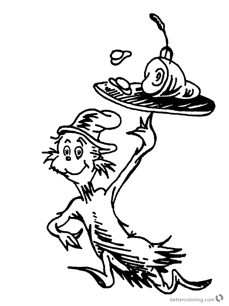 Dr Seuss Green eggs and Ham Coloring Pages Black and White printable