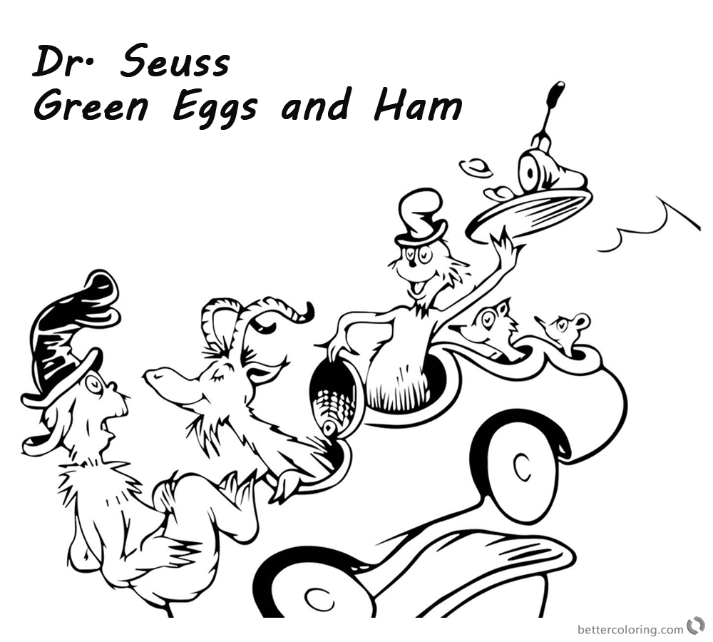 Dr Seuss Green eggs and Ham Coloring