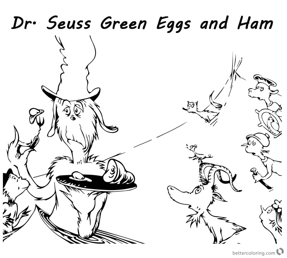 Dr Seuss Green Eggs And Ham Coloring Pages Watching The Food