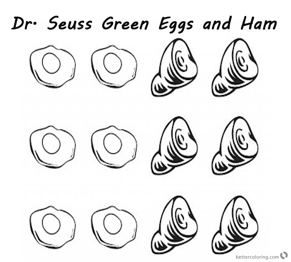 Dr Seuss Green eggs and Ham Coloring Pages six eggs and six Hams ...