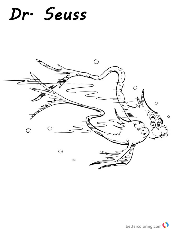 Dr Seuss One Fish Two Fish Coloring Pages Cat and Fish printable