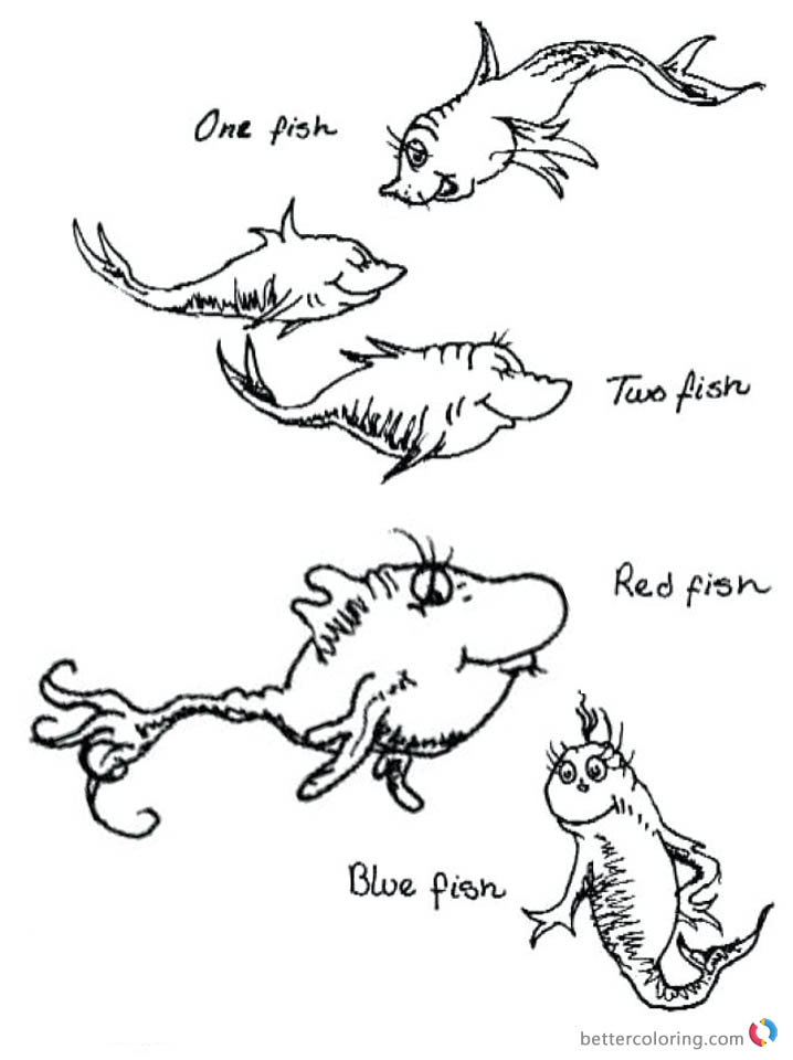 Dr Seuss One Fish Two Fish Coloring