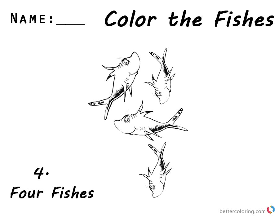 Dr Seuss One Fish Two Fish Coloring Pages Number 4 for Kids printable