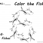 One Fish Two Fish Coloring Pages Number Six Worksheet for kids