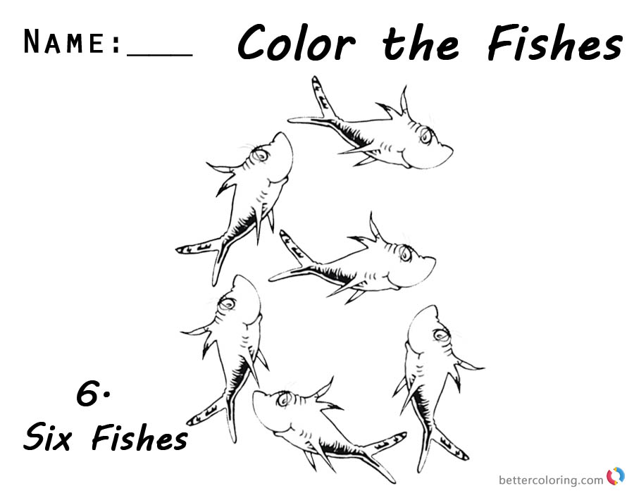 One Fish Two Fish Coloring Pages Number Six Worksheet for