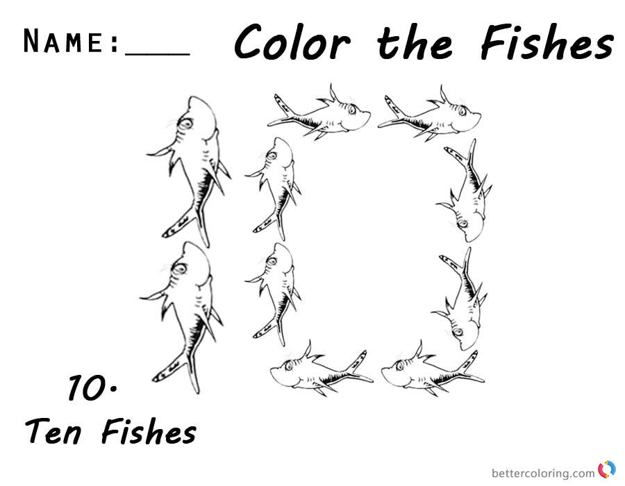 Dr Seuss One Fish Two Fish Coloring Pages Number 10
