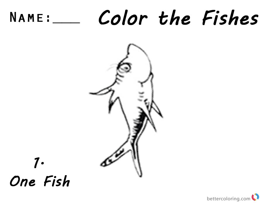 One Fish Two Fish Coloring Pages number 1 workseet by Dr