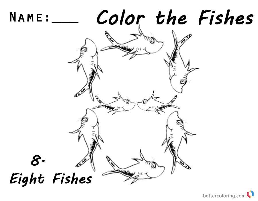 One Fish Two Fish Coloring Pages Number Eight for Kids