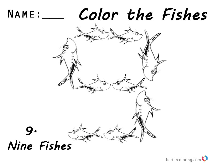 Dr Seuss One Fish Two Fish Coloring Pages Number Nine Worksheet printable