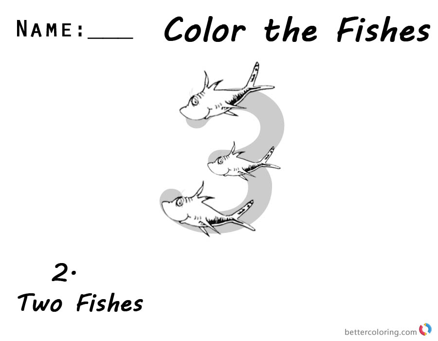 Dr seuss one fish two fish coloring pages number 3 free for One fish two fish coloring pages