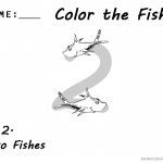 One Fish Two Fish Coloring Pages Number 2 worksheet for kids