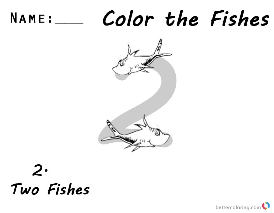 One Fish Two Fish Coloring Pages Number 2 worksheet for kids printable