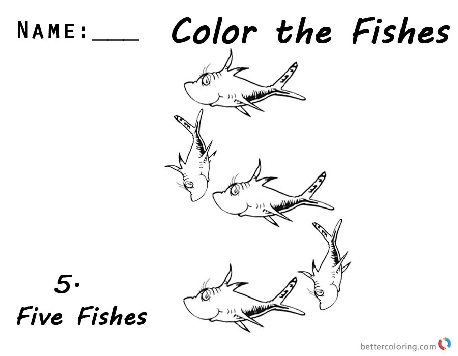 Dr Seuss One Fish Two Fish Coloring Pages number five worksheet printable
