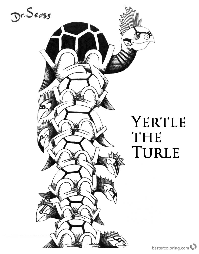 Dr Seuss Yertle the Turtle Coloring Fan Drawing printable