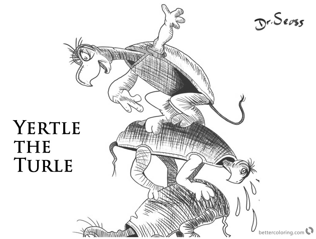 Dr Seuss Yertle the Turtle Coloring Pages Black and White printable